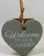 WELCOME TO OUR GARDEN HEART SHAPED CEMENT HANGING SIGN SHABBY GIFT FOR GARDENERS
